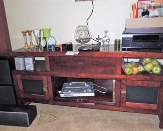 Media table.  Denon receiver, CD player, speakers, subwoofer