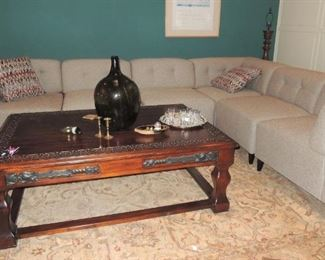 Sectional sofa.  Large wood coffee table