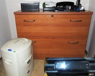 Office supplies, wood lateral, shredder, Brother wi-fi printer