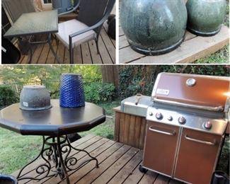 Heavy ceramic pots, Weber gas grill, Heavy outdoor table.  Bistro set