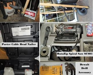 Porter Cable brad nailer, Rotozip spiral saw, Dewalt Drill Accessory Kits, Wheel barrow, Shop vac