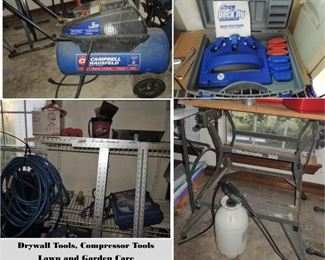 Workmate 300 bench, Dryway tools, Compressor and accessories
