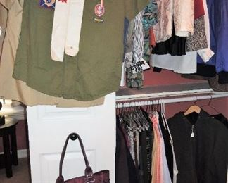Vintage Scout uniform shirts, woman's clothes (size small), handbags and shoes