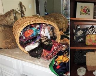 Womans accessories, scarves and handbags