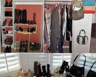 Woman's shoes and boots (size 6.5). Handbags and clothes (size s)