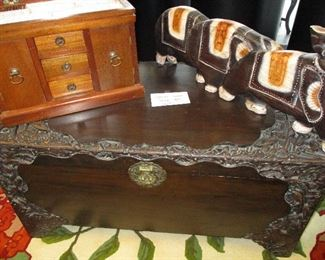 Carved Asian storage chest