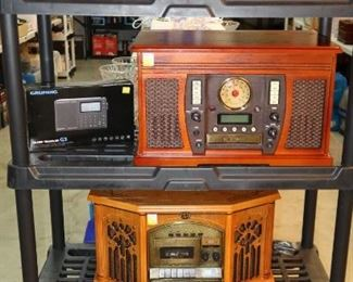 Vintage look stereo systems, slot machine and boom box