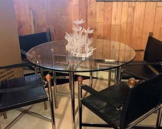 Gorgeous vintage glass top table & leather strap chairs