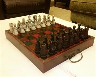 Carved oriental chess set