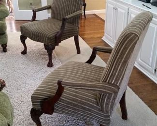 Two matching upholstered armchairs
