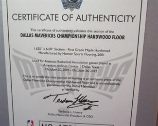 Mavericks Championship Hardwood Floor piece