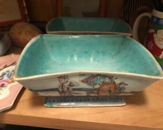 Antique chinese pottery hand painted  circa 1900