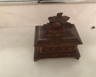 1875 Victorian Hand Carved Trinket box