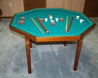 "Bumper pool table	48"" W x 31.5"" H"