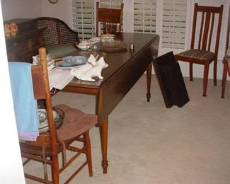 Custom drop leaf farm table, with 6 chairs