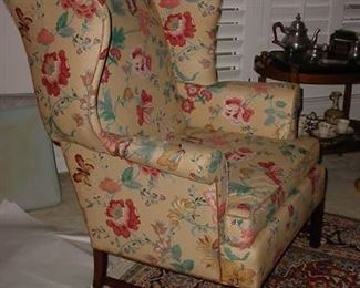 Pair of these upholstered wing back chairs