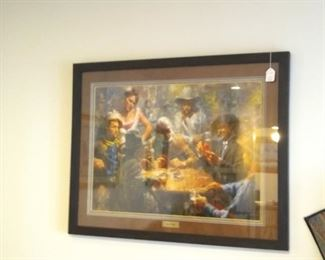 Retail $240 cowboys playing draw poker New Custom Frame with price tag still attached $90 .......NOW $40 great Christmas Present