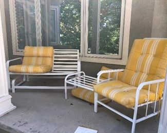 Nice glider, chair and foot stool, yellow cushions