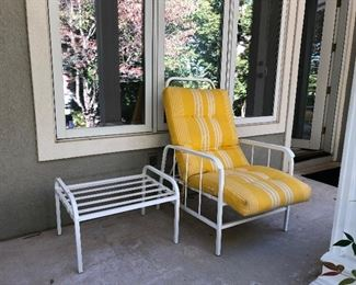 Second chair and foot stool, yellow cushion