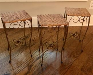 Three cane top metal tables