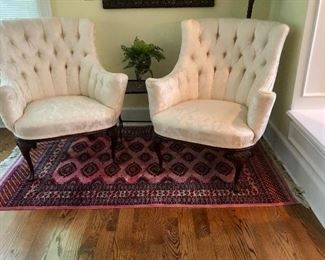White, button back, upholstered chairs, 4 x 6 silk rug