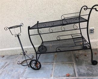 Wrought iron tea cart and plant stand