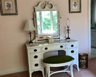 Huntly Furniture Company  white dressing table with matching bench