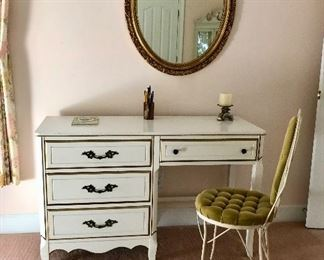 White with gold trim desk/dressing table, green velvet metal chair, oval mirror