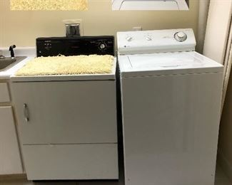 Washer & Dryer: Washer Maytag 'dependable care, quiet pack/heavy duty super capacity 7 cycles: Dryer: GE Drying Solutions, Four Cycle Dryer, Heavy Duty Large Capacity(dryer only works on low temperature)