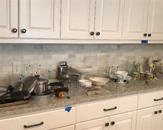 Full kitchen: Pots, pans, glasses, vintage utilities, crystal, mugs, milk glass...