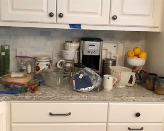 Assortment: Cuisinart coffee maker, Mr. Coffee, milk glass, pottery, mixing bowls, vintage plastic glasses, Tupperware salt/pepper...