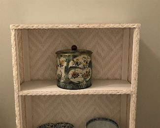 Nice white wicker shelf with smalls...