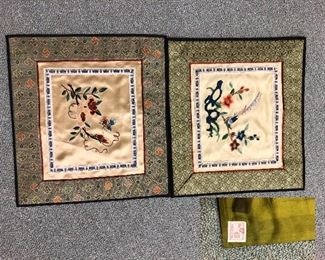 Small oriental tapestries numbered and signed
