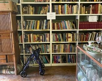 PORTION OF AN EIGHT FOOT HIGH X 6O' LONG WALL OF BOOKS---REFERENCE AND ANTIQUE