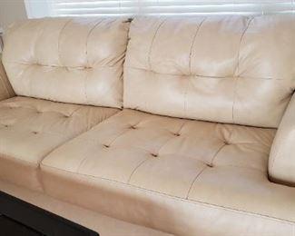 Leather cream colored Sofa