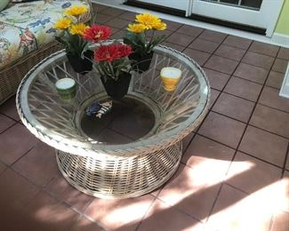 Wicker round patio glass top table