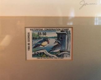 Waterfowl Conservation Stamp with Framed Signed Artwork