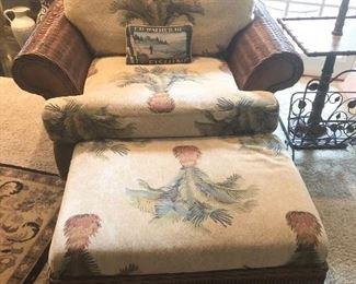 Braxton Culler Wicker Patio Club chair and ottoman
