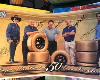 Signed NASCAR Poster Daytona 500, 50 races, five champions