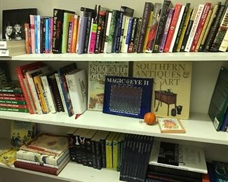 lots of books Beatles and cookbook