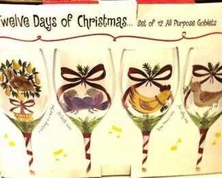 12 days of Christmas stemware