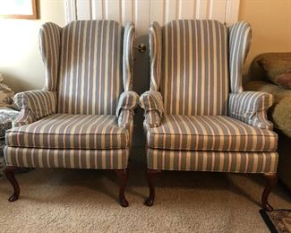 pair of Striped Wing back queen Ann style chairs