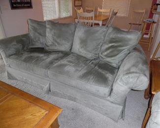 Micro fiber sofa and love seat. Pale Sage Green color