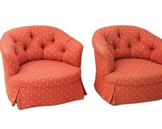 2. Pair of Red Patterned Armchairs