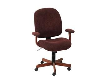 6. Red Upholstered Swivel Chair