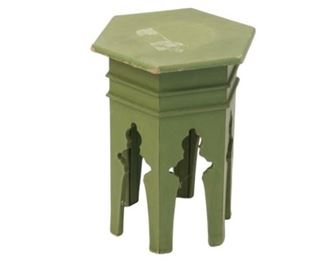 9. Carved Green Plant Stand