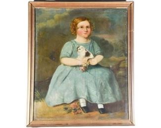 1. 18th19th Century Primitive Style Portrait Painting Young Girl Holding a Dog