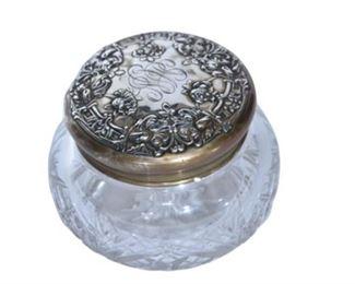 6. Sterling Silver Lidded Cut Glass Dresser Jar