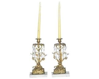 7. Pair of Cast Gilt Bronze Candelabras with Crystals