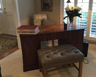 office desk, leather ottoman